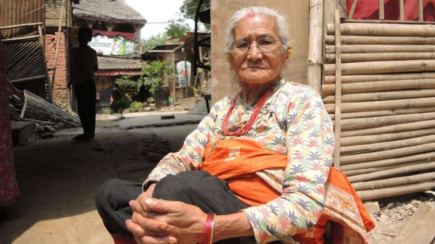 Ratnamaya Suwal, 82, was born four months after the last massive earthquake in Kathmandu. Her house was demolished in the quake. (Melanie Lidman/Times of Israel)