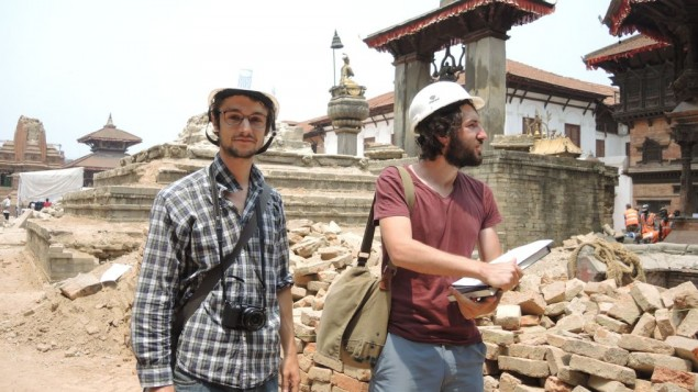 Ludovic Dusuzeau (left) and Pierre Gerard Bendele are two architects from Paris who were on a private research trip to study Nepalese patrimony when the earthquake struck. Now they are volunteering with UNESCO, using drawings they made just a week earlier of things that no longer exist. (Melanie Lidman/Times of Israel)