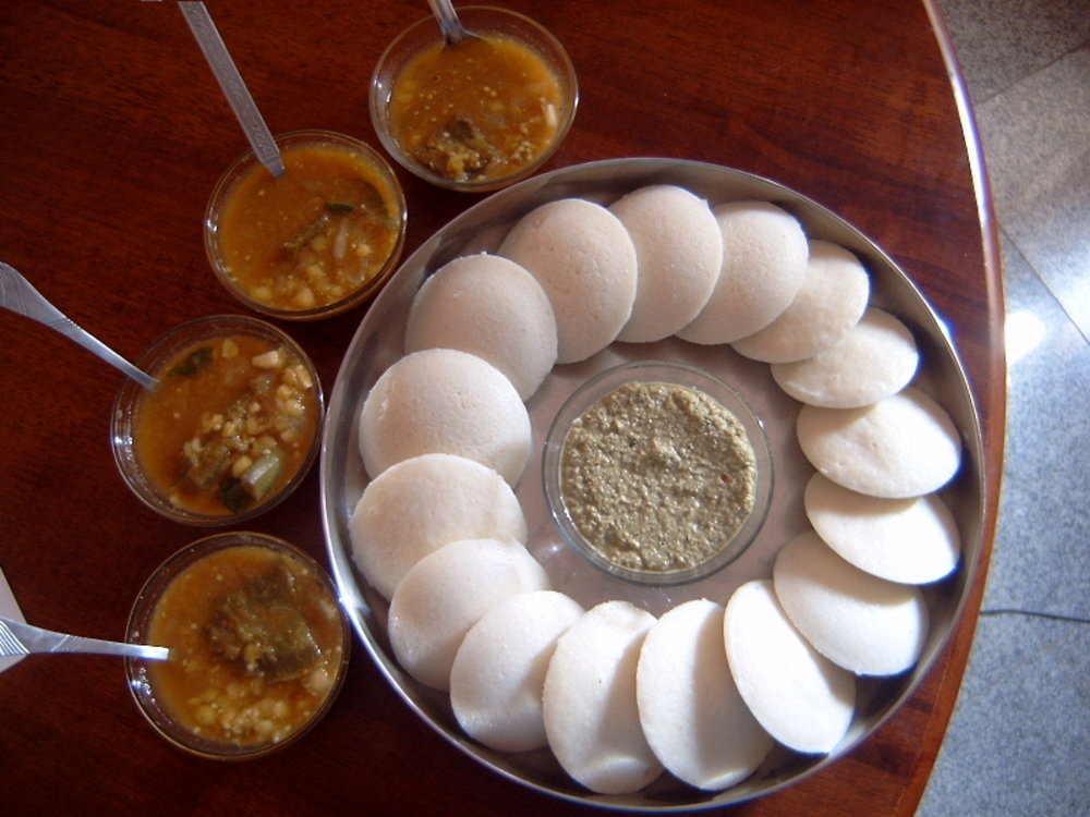 Idli and Samber found in Southern Part of India.