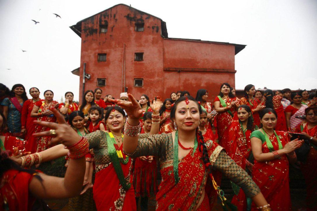 Singing and dancing at pashupatinath temple.